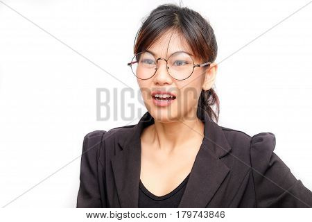 Business Women With Glasses Thinking And Say Something