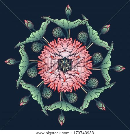 Lotus background. Floral decorative ornament. Water lilies arrenged in circular wreath isolated on deep blue background. EPS10 vector illustration.
