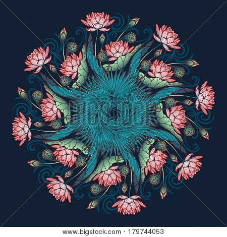 Lotus background. Floral decorative ornament. Water lilies palm tree and banana leaves arrenged in circular wreath isolated on deep blue background. EPS10 vector illustration.