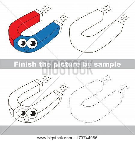 Drawing worksheet for preschool kids with easy gaming level of difficulty, simple educational game for kids to finish the picture by sample and draw the Funny Magnet.