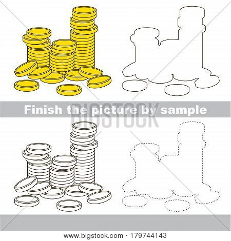 Drawing worksheet for preschool kids with easy gaming level of difficulty, simple educational game for kids to finish the picture by sample and draw the lot of Gold Cash Coins