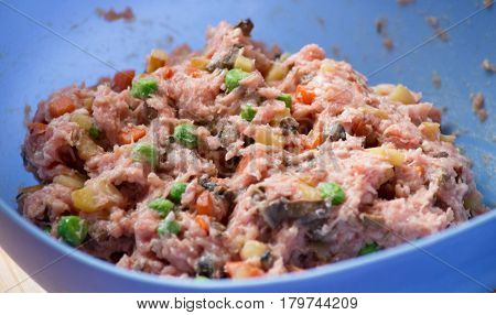 Raw minced meat with vegetables prepared for cooking