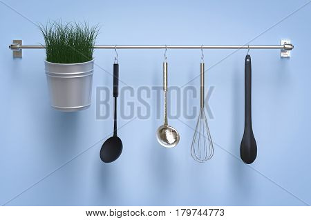 3d rendering kitchen rack on blue wall