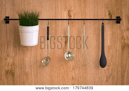 3d rendering kitchen rack on wooden wall