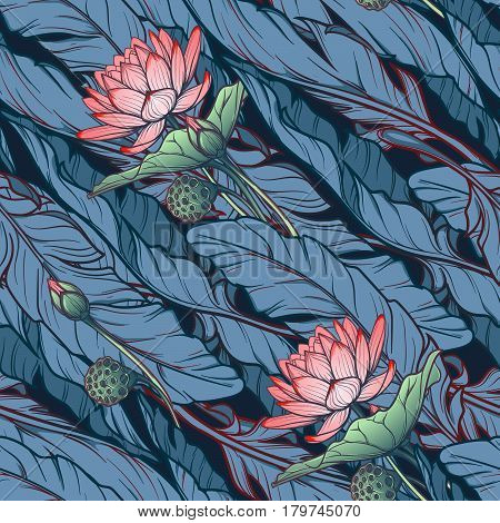 Lotus background. Floral seamless pattern with water lilies and banana leaves on deep blue background. Diagonal rhythm. EPS10 vector illustration.