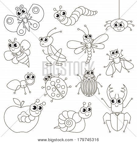 Cute small insects set to be colored, the big coloring book for preschool kids with easy educational gaming level.