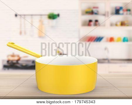 Empty Sauce Pan On Kitchen Background