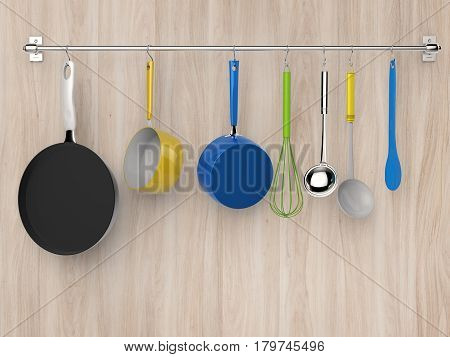 Kitchen Rack Hanging With Kitchen Utensils