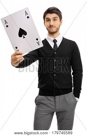 Young man holding an ace of spades card isolated on white background