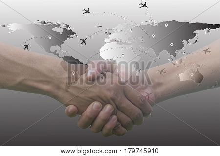Double exposure of hands coordination and airplane map earth
