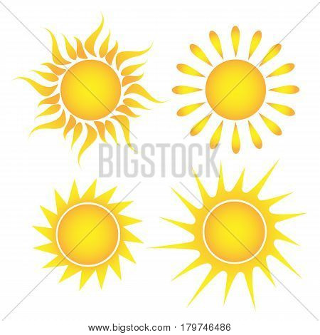 Sun set of suns on white background vector illustration