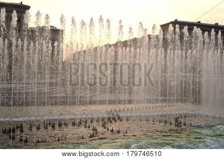 The gush of water of a fountain in St. Petersburg Russia.