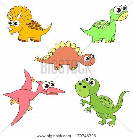 Tremendous dinosaurus dino elements set, collection of coloring book template, the group of outline digital elements vector illustration, kid game page.