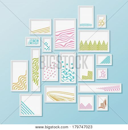 Different pictire frames with simple colorful geometric patters on bright blue wall. Set of realistic borders for art gallery mockup, wallpaper design, fully editable, you can move any object