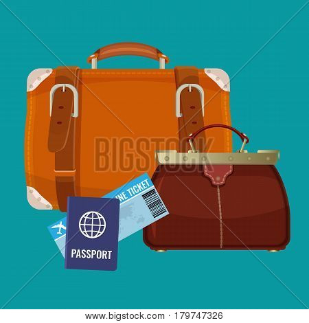 Leather luggage case and carryon bag near travelling tickets and passports isolated on blue background. Big suitcase near women handbag. Vector illustration in travelling concept