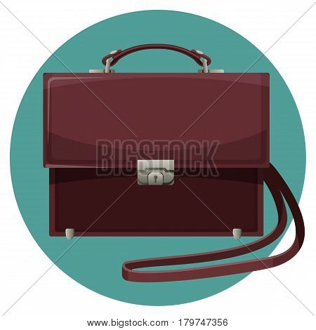 Leather purse in blue button isolated on white background. Handy accessory for stylish man, portable kit for documents. Realistic vector illustration in flat style design