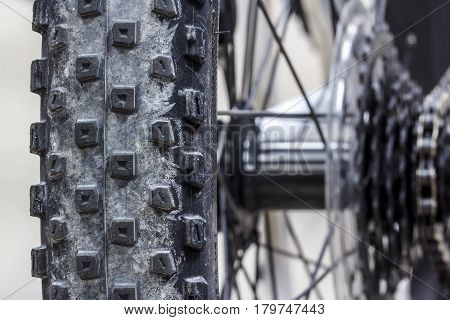 The Knobby spikes Tire Mountain Bike close-up.