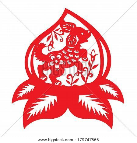 Red paper cut dog zodiac in peach and flower symbols vector design