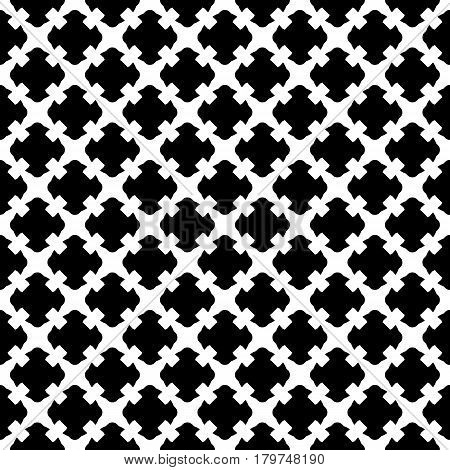 Vector seamless pattern. Simple black & white geometric texture. Endless ornamental background, retro gothic style. Symmetric square abstract backdrop. Repeat tiles. Design for prints, decor, digital, fabric, furniture, textile