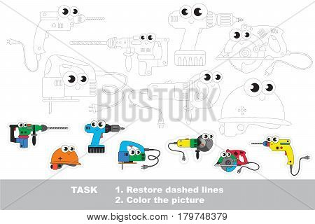 Funny tracing set of power tools. Dot to dot educational game for kids.