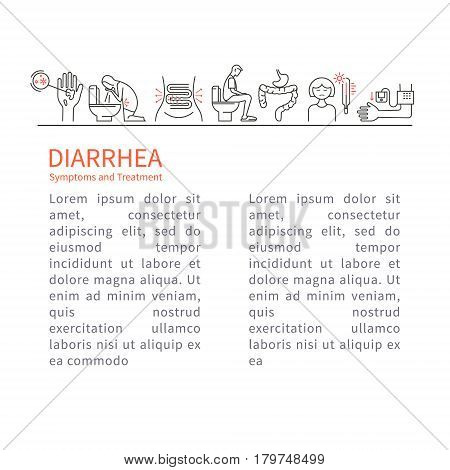 Diarrhea. Causes, symptoms and treatment. Vector artwork in a linear style.