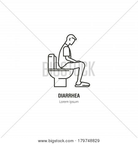 Diarrhea. Logos for health in a linear style