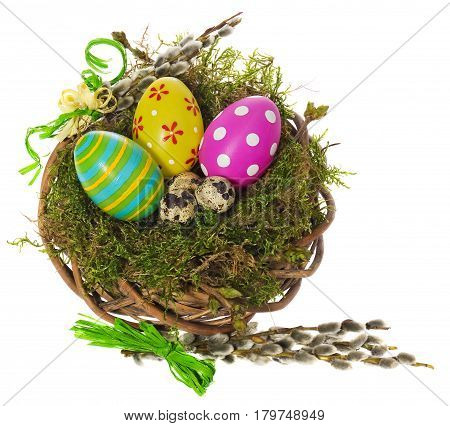 Easter Eggs Hand Painted In A Wicker Wreath, Bird's Nest Of Moss Forest With Catkins.