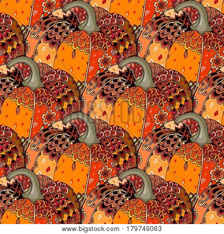 Seamless festive pattern with bright hand drawn pumpkin. Thanksgiving symbol. Print for fabric, packaging design. Beautiful vector illustration.