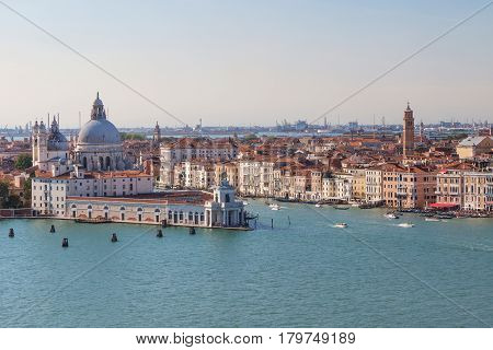 VENICE ITALY - SEPT 22 2016: Santa Maria della Salute is a Roman Catholic church and minor basilica located at Punta della Dogana in the Dorsoduro sestiere of the city of Venice. Venice September 22 2016