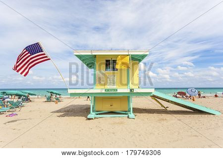 Hollywood Beach Fl USA - March 13 2017: Colorful lifeguard tower at the Hollywood Beach on a sunny day in March. Florida United States