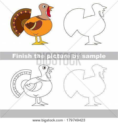 Drawing worksheet for preschool kids with easy gaming level of difficulty, simple educational game for kids to finish the picture by sample and draw the Beautiful Turkey.
