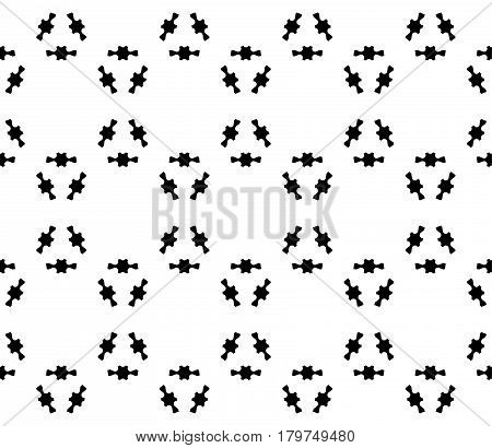 Vector monochrome texture, abstract minimalist seamless pattern. Black prickly figures on white background, geometric array. Repeat tiles. Editable design element for prints, decoration, textile, web