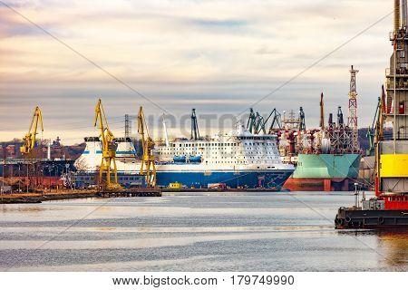 Shipyard on a cloudy day at Gdansk Poland.