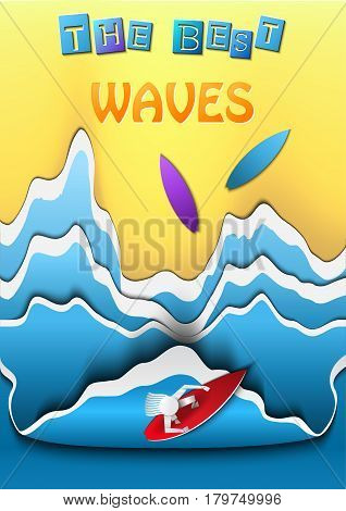 Vector Illustration of pop-up book for Design, Website, Background, Banner. Ocean Beach Paper origami Elements. Summer Craft Template