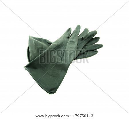 rubber gloves on a  white background, black glove