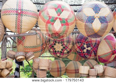 Basket and kitchenware made from bamboo and rattan in market