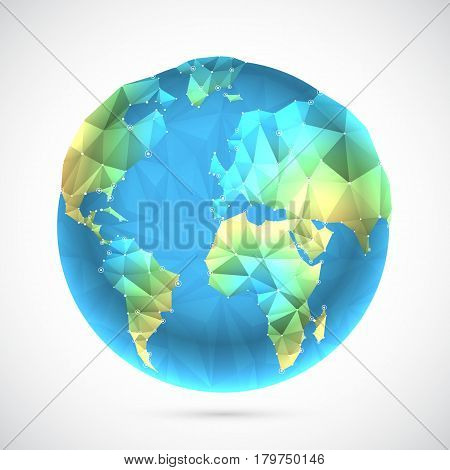 Polygonal globe with worl map on white background