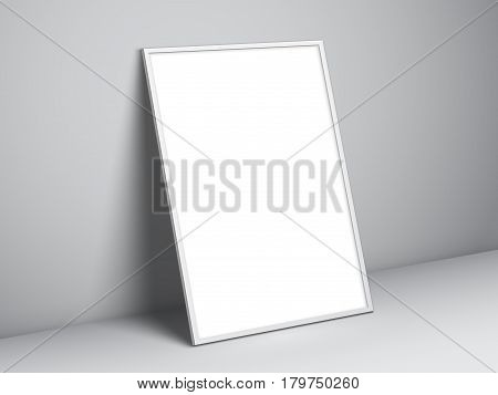 Blank white paper poster standing on floor. Poster mock-up template