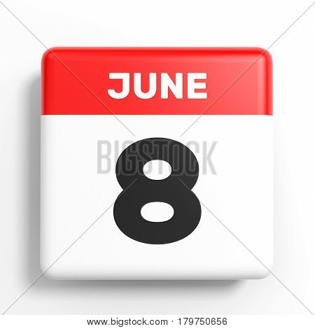 June 8. Calendar On White Background.