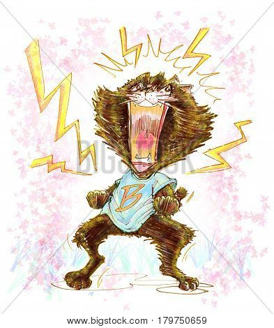 Cat mad cartoon screaming - has lightning spark around him Character pencil color hand drawn character design.