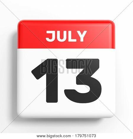 July 13. Calendar On White Background.