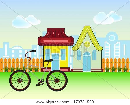Suburban Houses Front View Building and bicycle with wooden fence and city silhouette. Vector cartoon illustration.