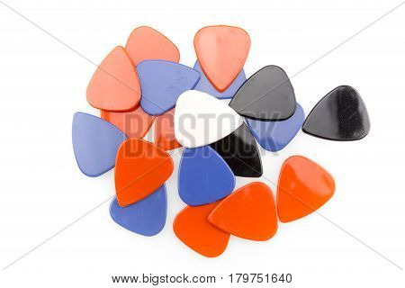 Colourful guitar picks isolated on white background