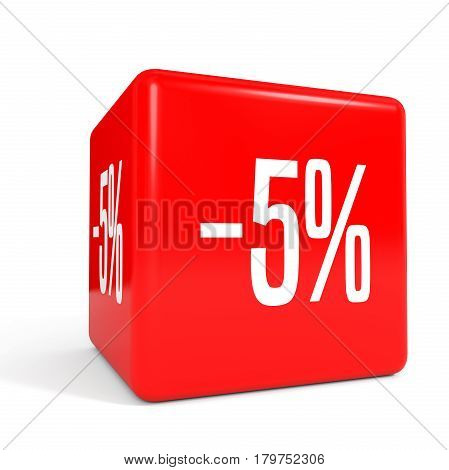 Five Percent Off. Discount 5 %. Red Cube.