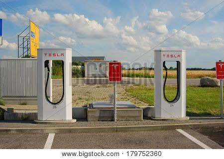 Muehldorf,Germany- June 27,2016: View of charging station for tesla e-cars