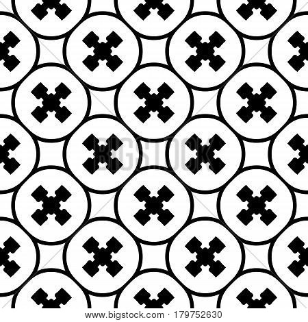 Vector monochrome texture, repeat minimalist seamless pattern. Abstract geometric background with staggered crosses and rounded lattice. Design for prints, decor, textile, furniture, clothes, digital