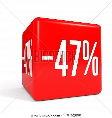 Forty Seven Percent Off. Discount 47 %. Red Cube.
