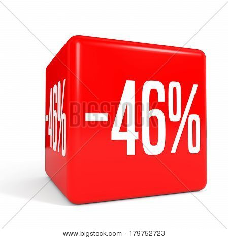 Forty Six Percent Off. Discount 46 %. Red Cube.