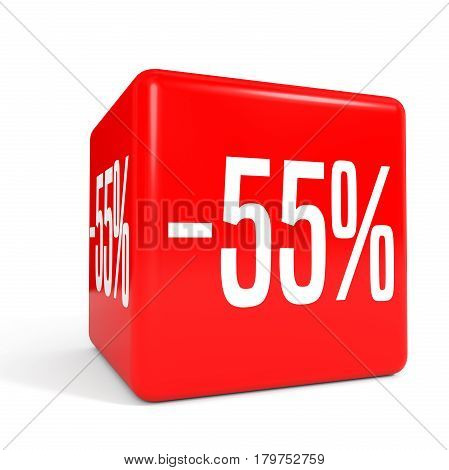 Fifty Five Percent Off. Discount 55 %. Red Cube.