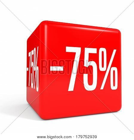 Seventy Five Percent Off. Discount 75 %. Red Cube.